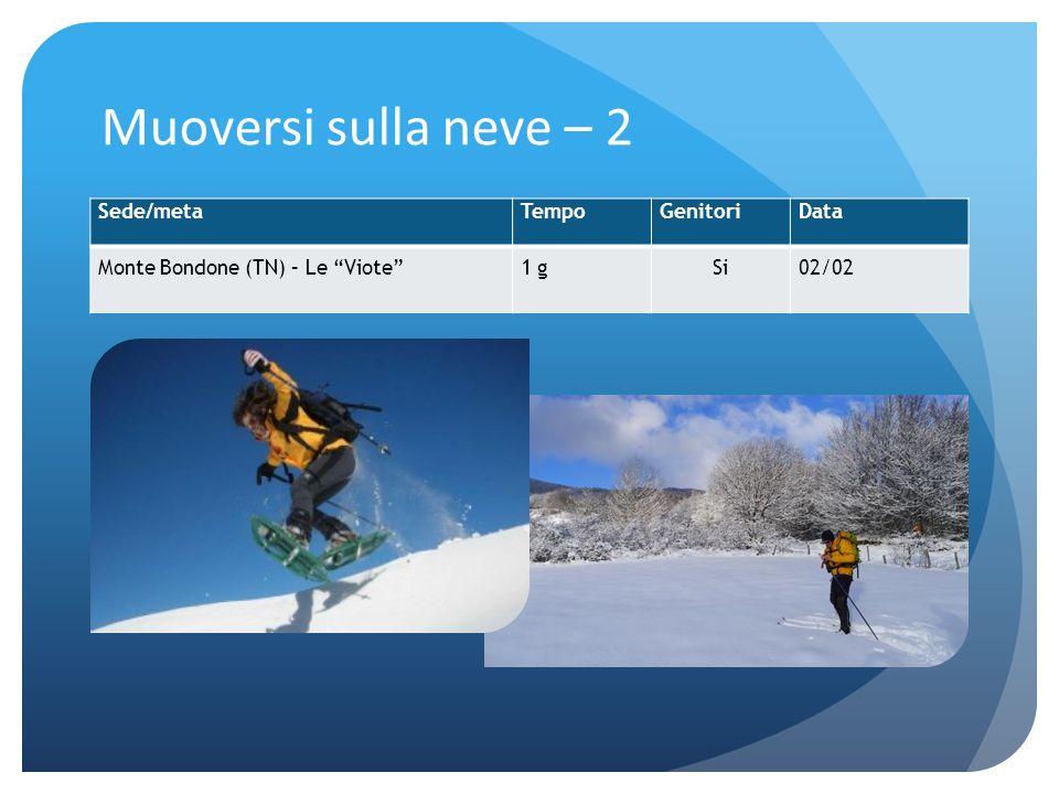Muoversi sulla neve – 2 Sede/metaTempoGenitoriData Monte Bondone (TN) – Le Viote1 gSi02/02