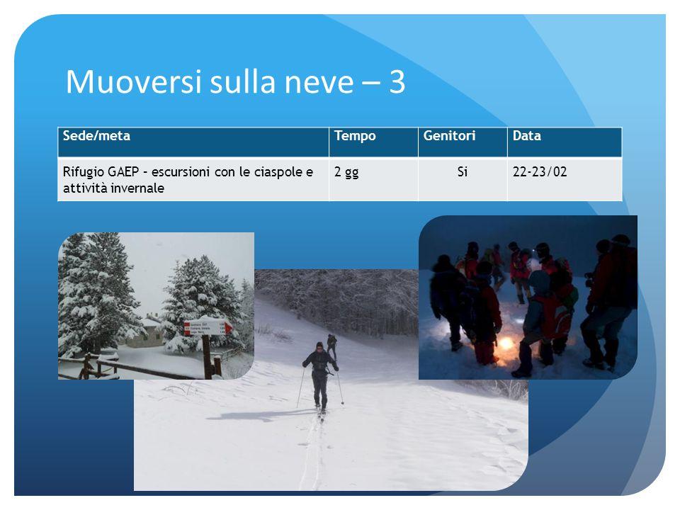 Muoversi sulla neve – 3 Sede/metaTempoGenitoriData Rifugio GAEP – escursioni con le ciaspole e attività invernale 2 ggSi22-23/02