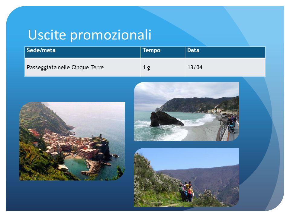 Uscite promozionali Sede/metaTempoData Passeggiata nelle Cinque Terre1 g13/04