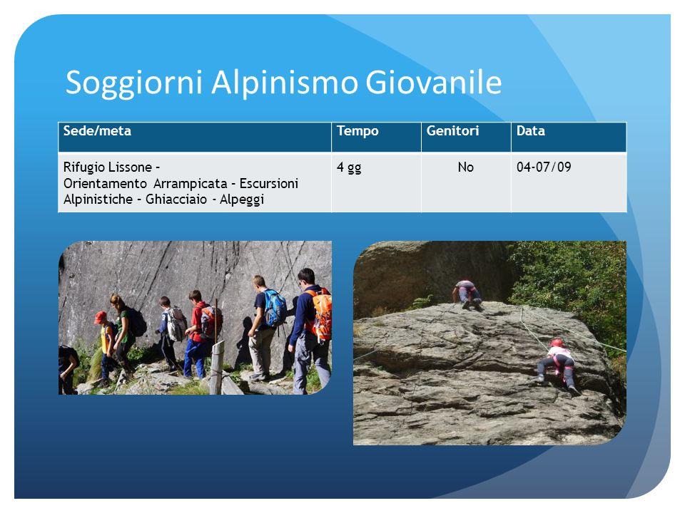 Soggiorni Alpinismo Giovanile Sede/metaTempoGenitoriData Rifugio Lissone – Orientamento Arrampicata – Escursioni Alpinistiche – Ghiacciaio - Alpeggi 4