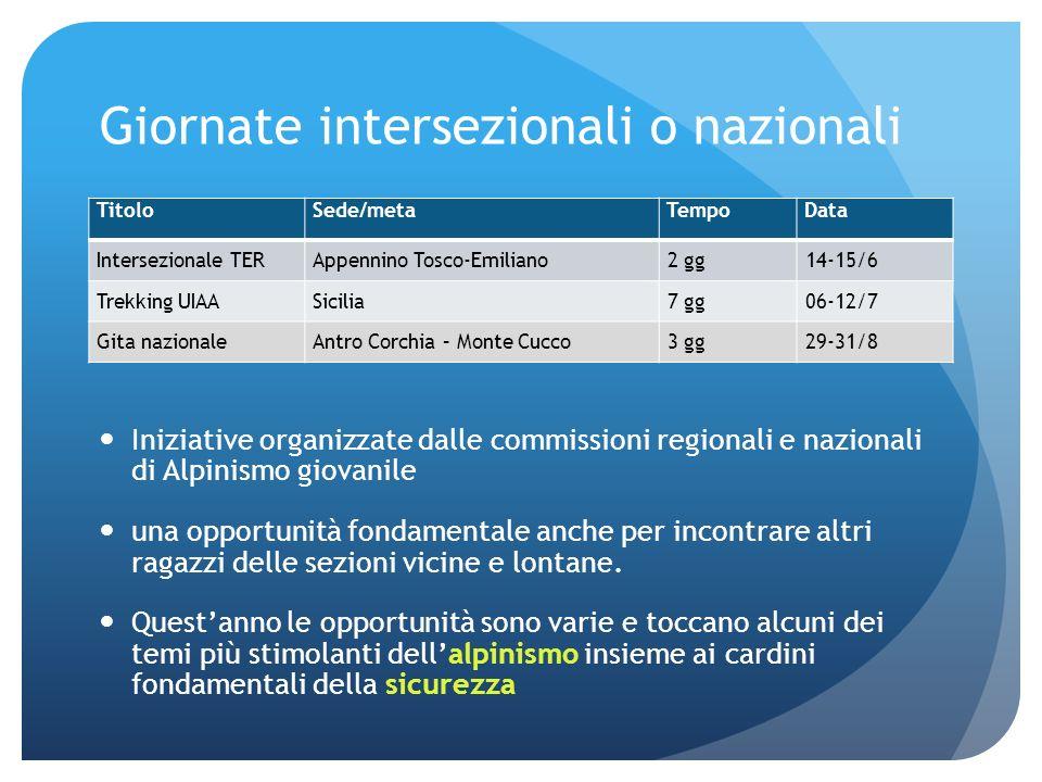 Giornate intersezionali o nazionali Iniziative organizzate dalle commissioni regionali e nazionali di Alpinismo giovanile una opportunità fondamentale