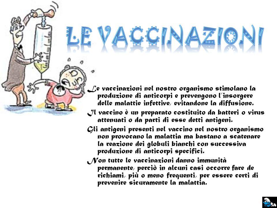 Le vaccinazioni nel nostro organismo stimolano la produzione di anticorpi e prevengono linsorgere delle malattie infettive, evitandone la diffusione.