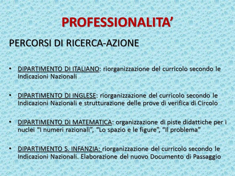 PROFESSIONALITA PERCORSI DI RICERCA-AZIONE DIPARTIMENTO DI ITALIANO: riorganizzazione del curricolo secondo le Indicazioni Nazionali DIPARTIMENTO DI I