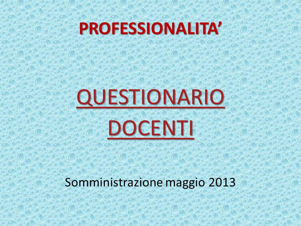 PROFESSIONALITA QUESTIONARIO DOCENTI Somministrazione maggio 2013