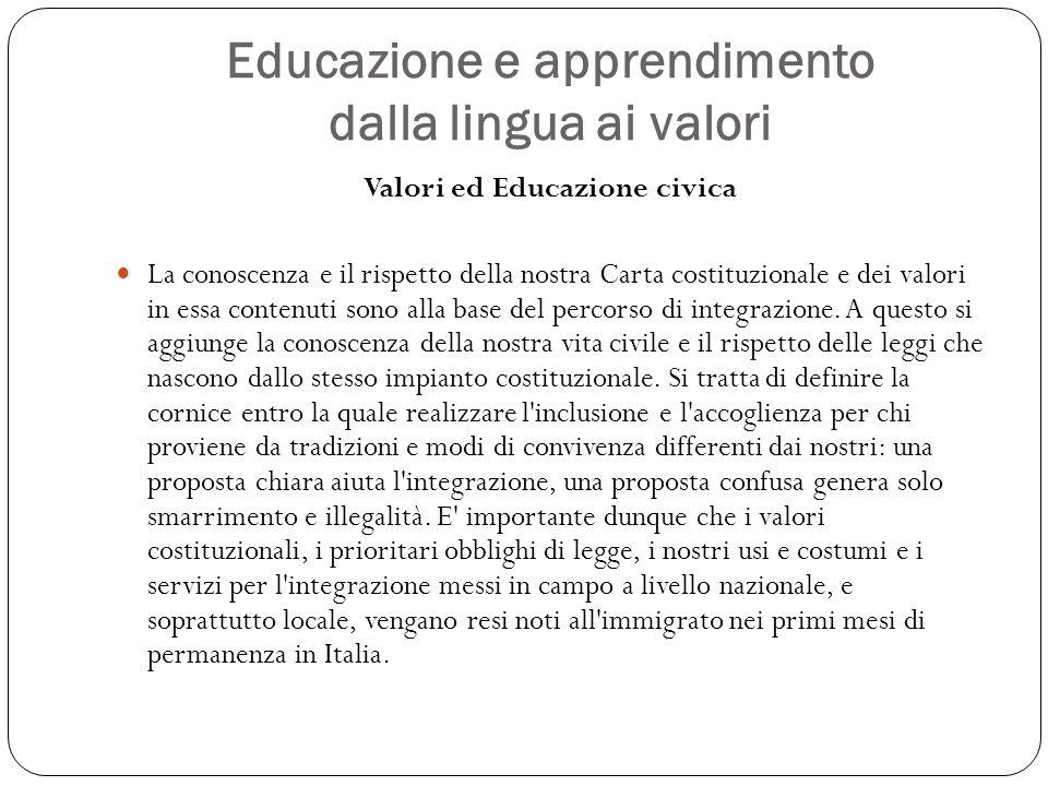 Valori ed Educazione civica La conoscenza e il rispetto della nostra Carta costituzionale e dei valori in essa contenuti sono alla base del percorso d