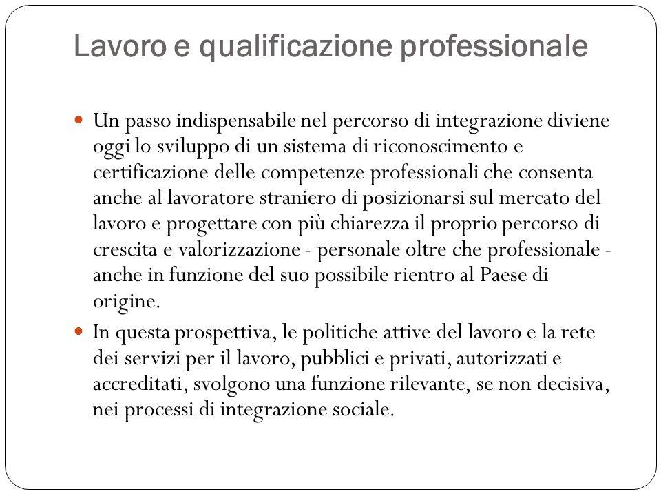 Lavoro e qualificazione professionale Un passo indispensabile nel percorso di integrazione diviene oggi lo sviluppo di un sistema di riconoscimento e