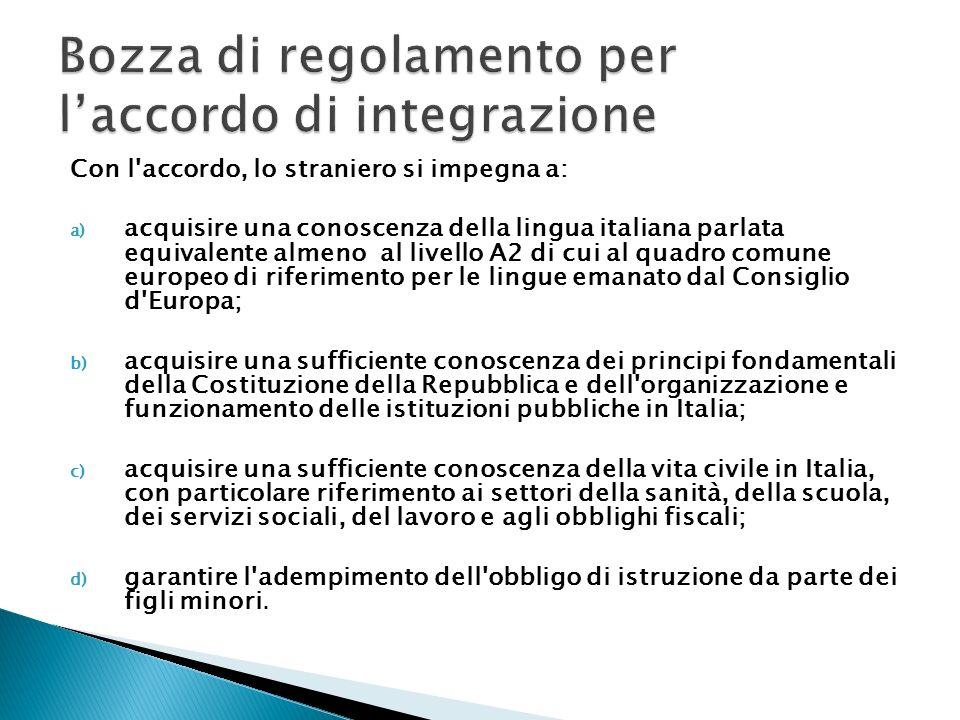 Con l'accordo, lo straniero si impegna a: a) acquisire una conoscenza della lingua italiana parlata equivalente almeno al livello A2 di cui al quadro