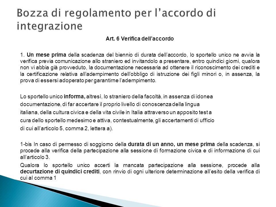 Art. 6 Verifica dellaccordo 1. Un mese prima della scadenza del biennio di durata dellaccordo, lo sportello unico ne avvia la verifica previa comunica