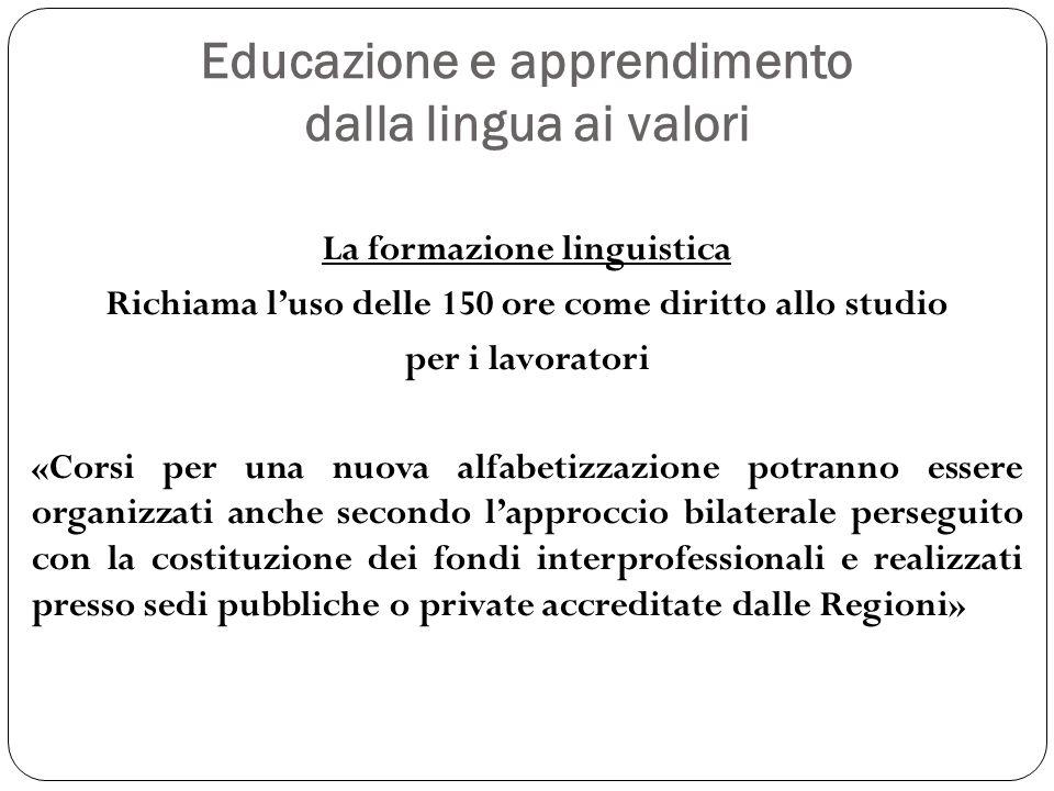 Educazione e apprendimento dalla lingua ai valori La formazione linguistica Richiama luso delle 150 ore come diritto allo studio per i lavoratori «Cor