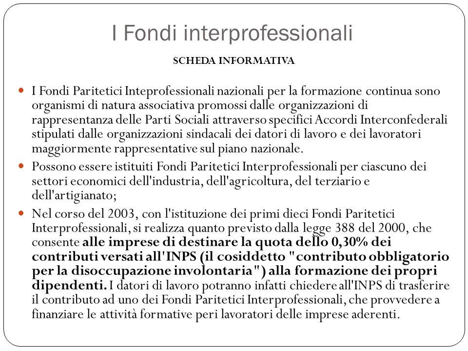 I Fondi interprofessionali SCHEDA INFORMATIVA I Fondi Paritetici Inteprofessionali nazionali per la formazione continua sono organismi di natura assoc