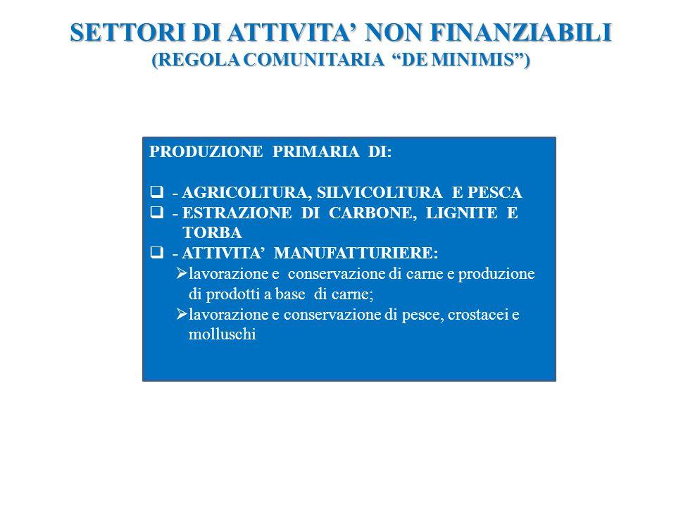 SETTORI DI ATTIVITA NON FINANZIABILI (REGOLA COMUNITARIA DE MINIMIS) PRODUZIONE PRIMARIA DI: - AGRICOLTURA, SILVICOLTURA E PESCA - ESTRAZIONE DI CARBONE, LIGNITE E TORBA - ATTIVITA MANUFATTURIERE: lavorazione e conservazione di carne e produzione di prodotti a base di carne; lavorazione e conservazione di pesce, crostacei e molluschi