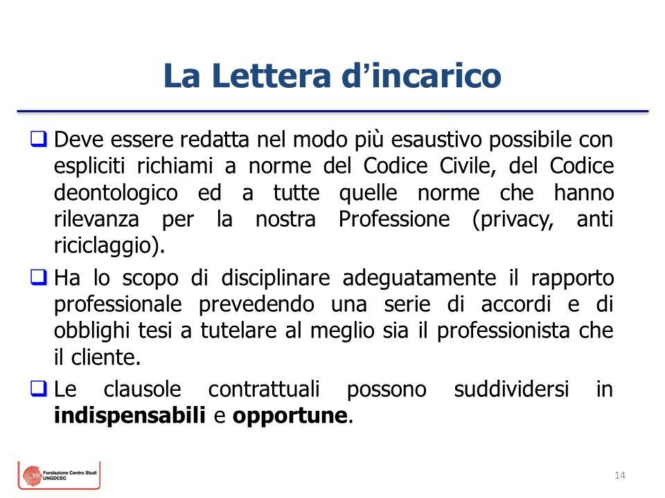 14 La Lettera dincarico Deve essere redatta nel modo più esaustivo possibile con espliciti richiami a norme del Codice Civile, del Codice deontologico