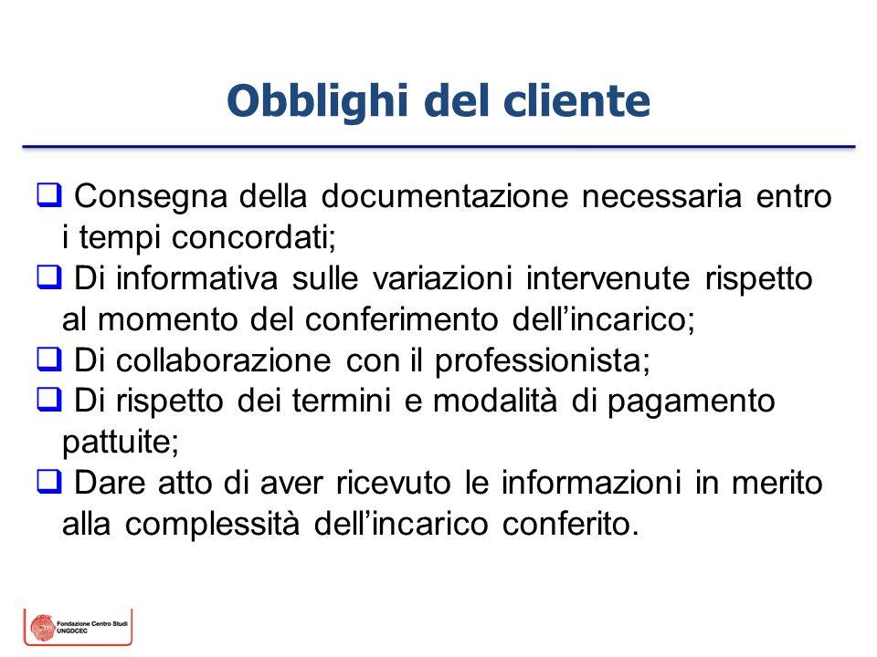 Obblighi del cliente Consegna della documentazione necessaria entro i tempi concordati; Di informativa sulle variazioni intervenute rispetto al moment