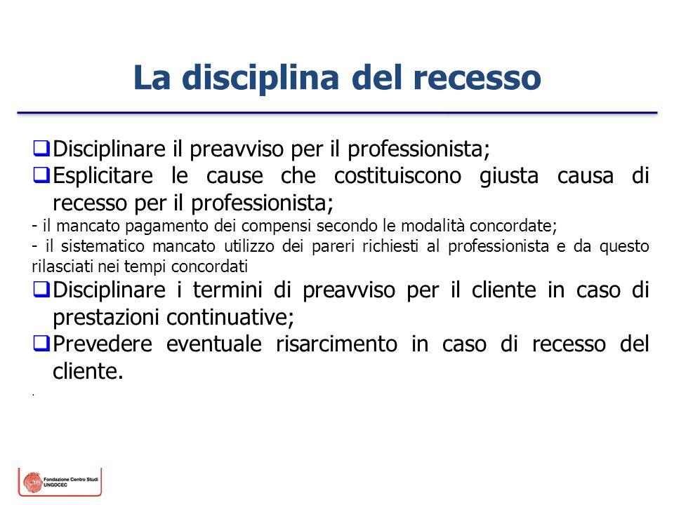 Disciplinare il preavviso per il professionista; Esplicitare le cause che costituiscono giusta causa di recesso per il professionista; - il mancato pa
