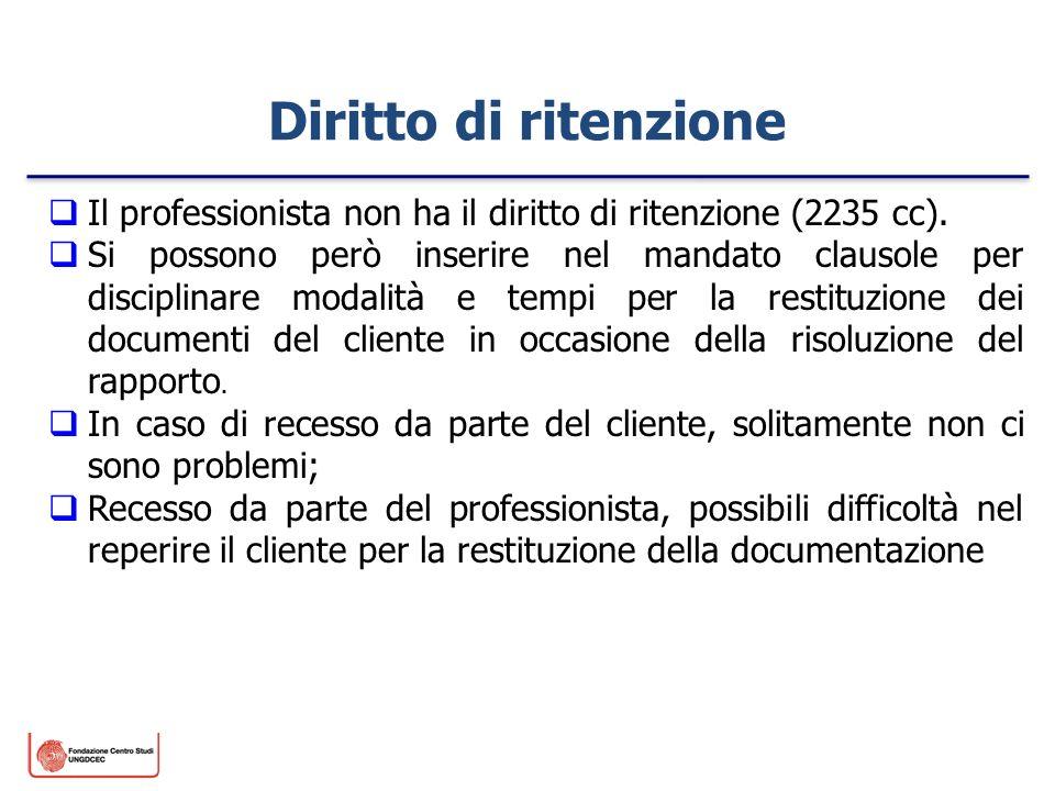 Diritto di ritenzione Il professionista non ha il diritto di ritenzione (2235 cc). Si possono però inserire nel mandato clausole per disciplinare moda