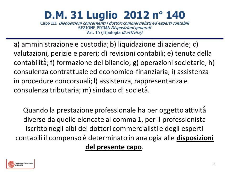 34 D.M. 31 Luglio 2012 n° 140 Capo III Disposizioni concernenti i dottori commercialisti ed esperti contabili SEZIONE PRIMA Disposizioni generali Art.