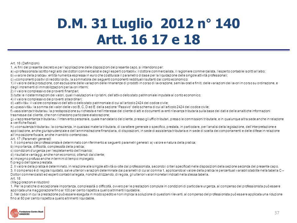 37 D.M. 31 Luglio 2012 n° 140 Artt. 16 17 e 18 Art. 16 (Definizioni) 1. Ai fini del presente decreto e per lapplicazione delle disposizioni del presen