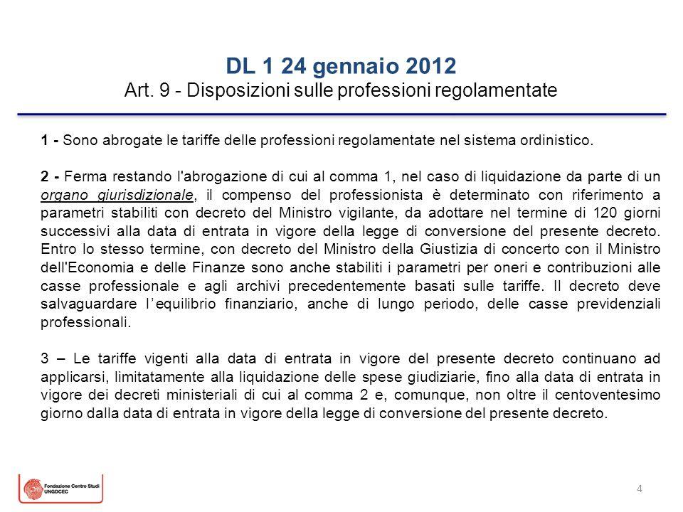 4 DL 1 24 gennaio 2012 Art. 9 - Disposizioni sulle professioni regolamentate 1 - Sono abrogate le tariffe delle professioni regolamentate nel sistema
