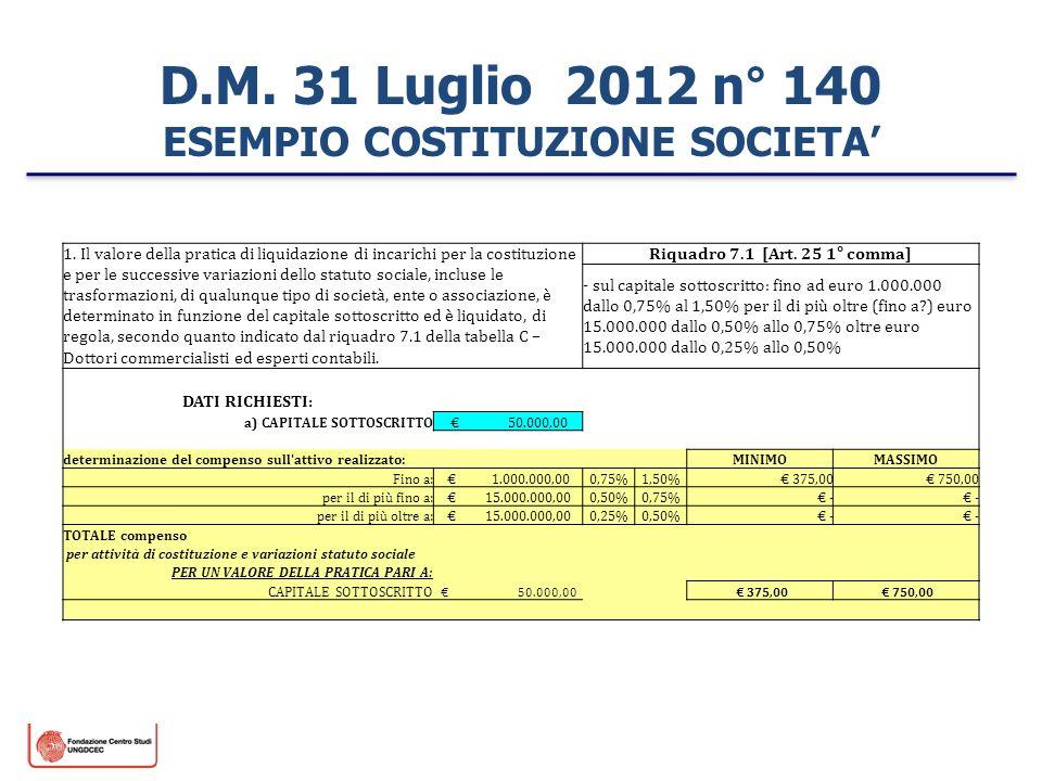 D.M. 31 Luglio 2012 n° 140 ESEMPIO COSTITUZIONE SOCIETA 1. Il valore della pratica di liquidazione di incarichi per la costituzione e per le successiv