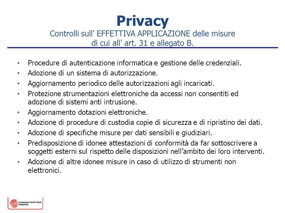 Privacy Controlli sull EFFETTIVA APPLICAZIONE delle misure di cui all art. 31 e allegato B. Procedure di autenticazione informatica e gestione delle c