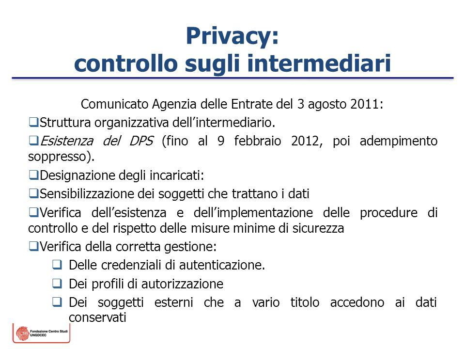 Privacy: controllo sugli intermediari Comunicato Agenzia delle Entrate del 3 agosto 2011: Struttura organizzativa dellintermediario. Esistenza del DPS