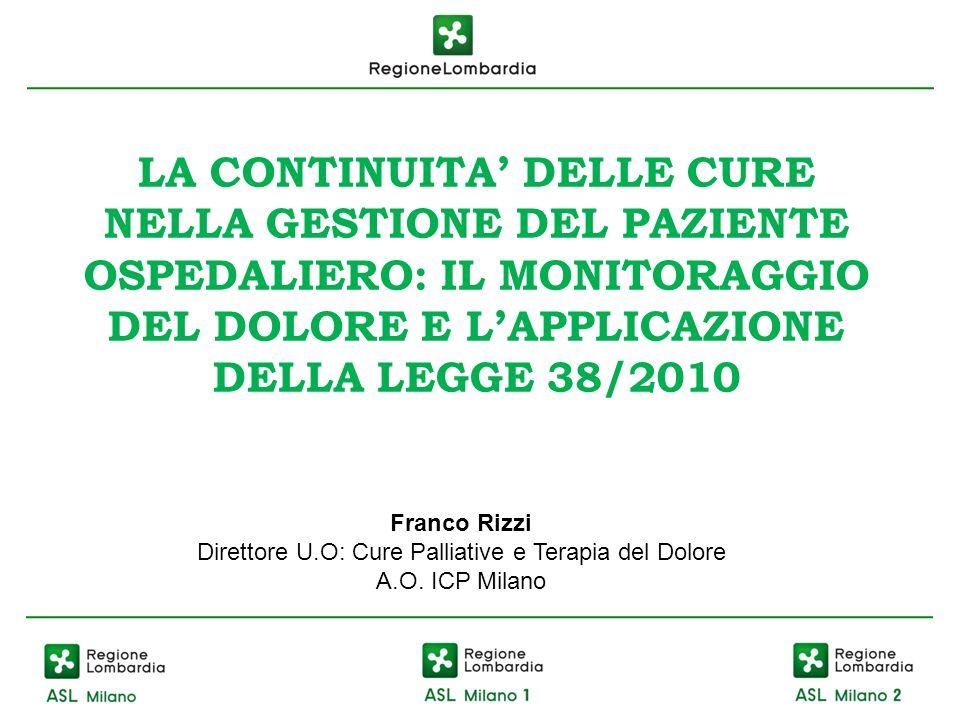 LA CONTINUITA DELLE CURE NELLA GESTIONE DEL PAZIENTE OSPEDALIERO: IL MONITORAGGIO DEL DOLORE E LAPPLICAZIONE DELLA LEGGE 38/2010 Franco Rizzi Direttor