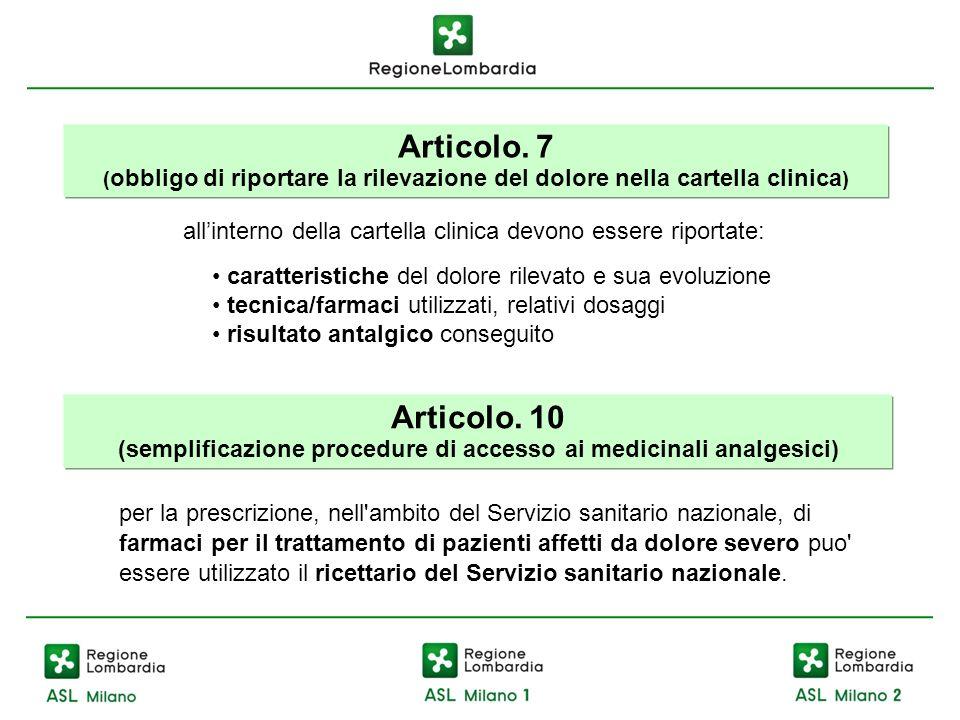 Articolo. 7 ( obbligo di riportare la rilevazione del dolore nella cartella clinica ) allinterno della cartella clinica devono essere riportate: carat
