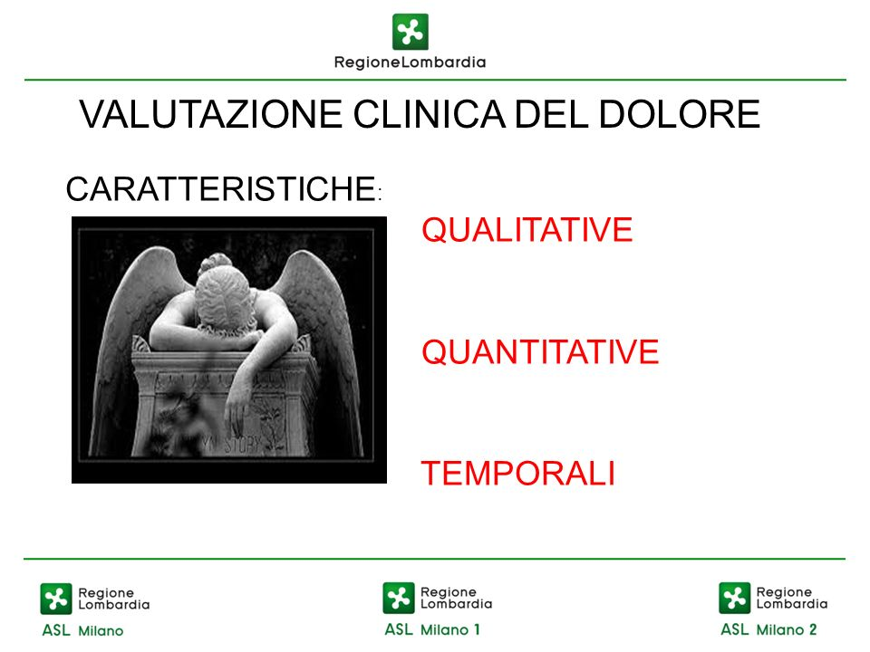 VALUTAZIONE CLINICA DEL DOLORE CARATTERISTICHE : QUALITATIVE QUANTITATIVE TEMPORALI
