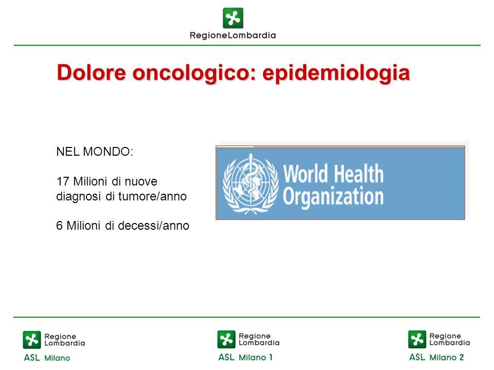 Dolore oncologico: epidemiologia NEL MONDO: 17 Milioni di nuove diagnosi di tumore/anno 6 Milioni di decessi/anno