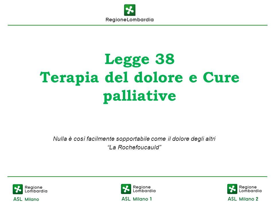 Legge 38 Terapia del dolore e Cure palliative Nulla è così facilmente sopportabile come il dolore degli altri La Rochefoucauld