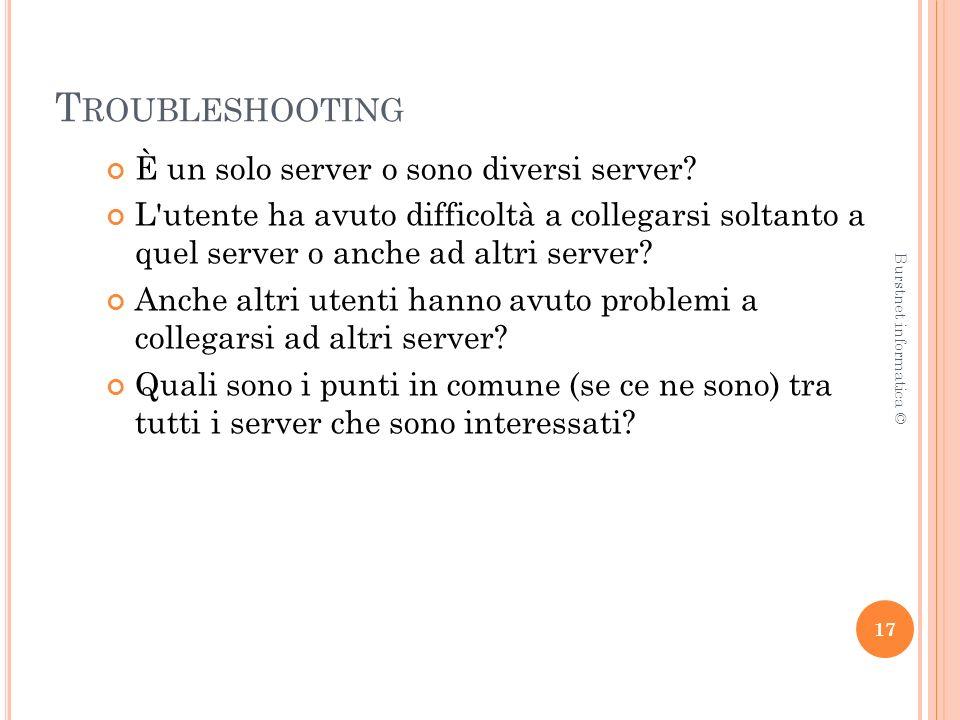 T ROUBLESHOOTING È un solo server o sono diversi server.