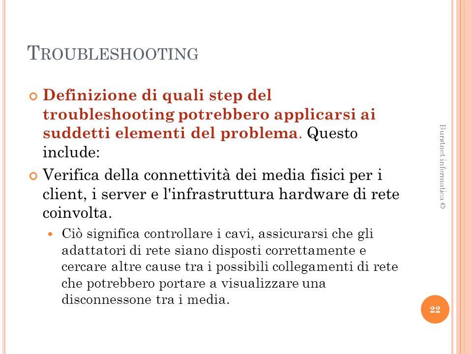 T ROUBLESHOOTING Definizione di quali step del troubleshooting potrebbero applicarsi ai suddetti elementi del problema.