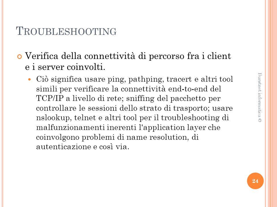 T ROUBLESHOOTING Verifica della connettività di percorso fra i client e i server coinvolti.