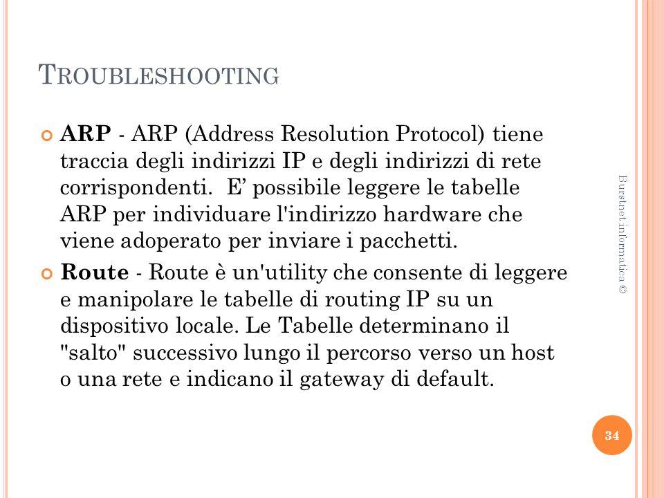 T ROUBLESHOOTING ARP - ARP (Address Resolution Protocol) tiene traccia degli indirizzi IP e degli indirizzi di rete corrispondenti.