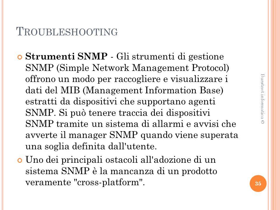 T ROUBLESHOOTING Strumenti SNMP - Gli strumenti di gestione SNMP (Simple Network Management Protocol) offrono un modo per raccogliere e visualizzare i dati del MIB (Management Information Base) estratti da dispositivi che supportano agenti SNMP.