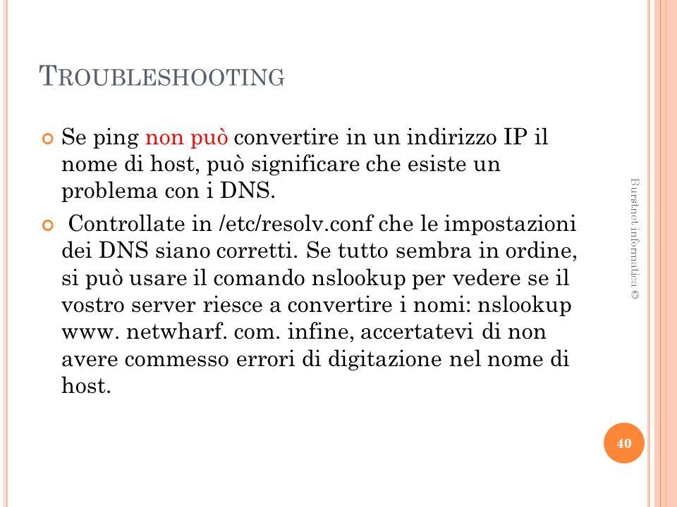 T ROUBLESHOOTING Se ping non può convertire in un indirizzo IP il nome di host, può significare che esiste un problema con i DNS.
