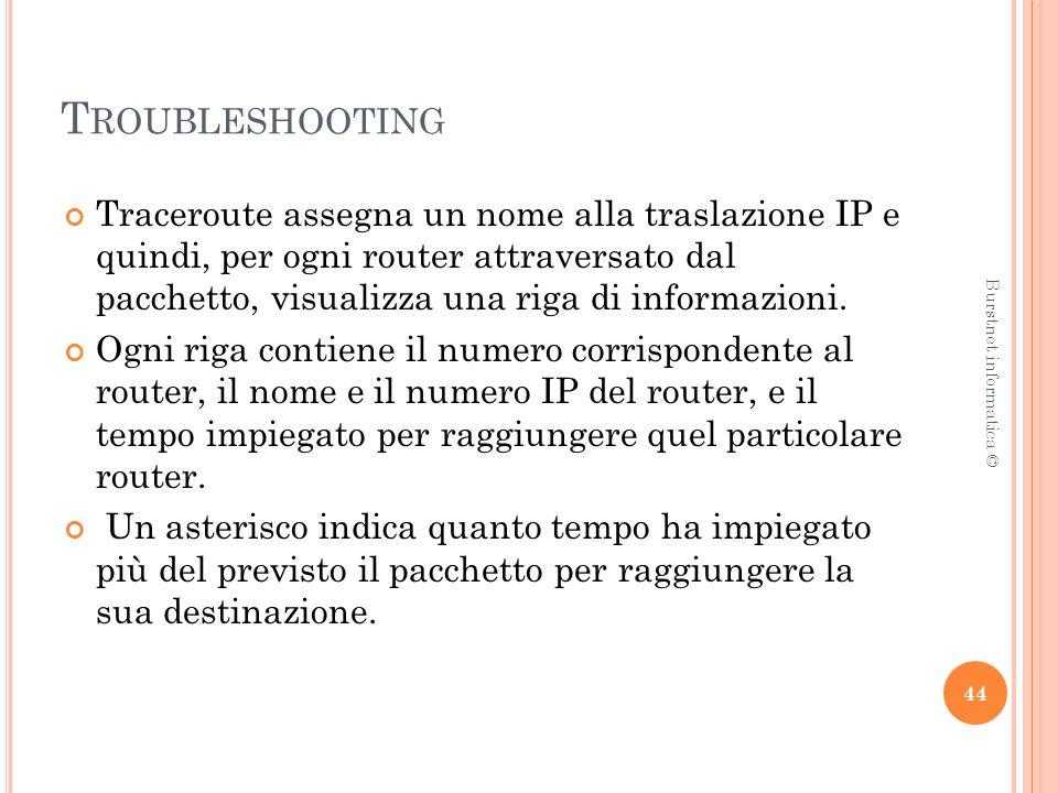 T ROUBLESHOOTING Traceroute assegna un nome alla traslazione IP e quindi, per ogni router attraversato dal pacchetto, visualizza una riga di informazioni.