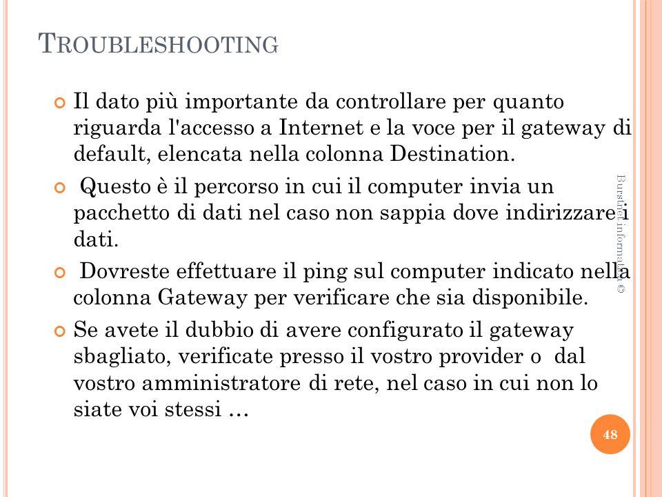 T ROUBLESHOOTING Il dato più importante da controllare per quanto riguarda l accesso a Internet e la voce per il gateway di default, elencata nella colonna Destination.