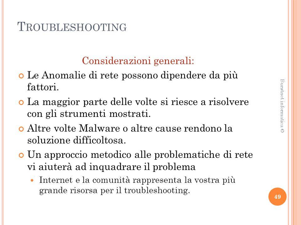 T ROUBLESHOOTING Considerazioni generali: Le Anomalie di rete possono dipendere da più fattori.