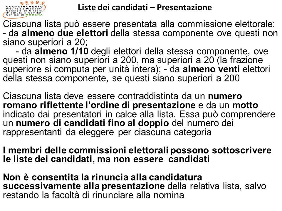 Liste dei candidati – Presentazione Ciascuna lista può essere presentata alla commissione elettorale: - da almeno due elettori della stessa componente