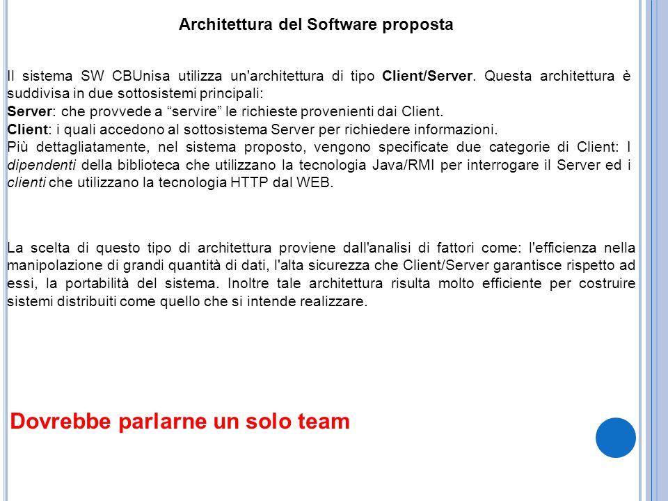 Architettura del Software proposta Il sistema SW CBUnisa utilizza un'architettura di tipo Client/Server. Questa architettura è suddivisa in due sottos