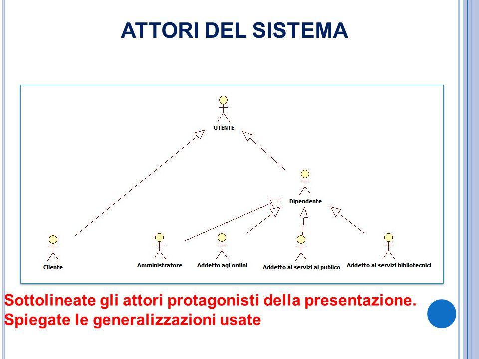 ATTORI DEL SISTEMA Sottolineate gli attori protagonisti della presentazione. Spiegate le generalizzazioni usate