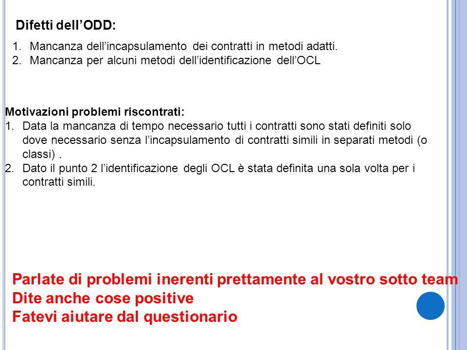 Difetti dellODD: 1.Mancanza dellincapsulamento dei contratti in metodi adatti. 2.Mancanza per alcuni metodi dellidentificazione dellOCL Motivazioni pr