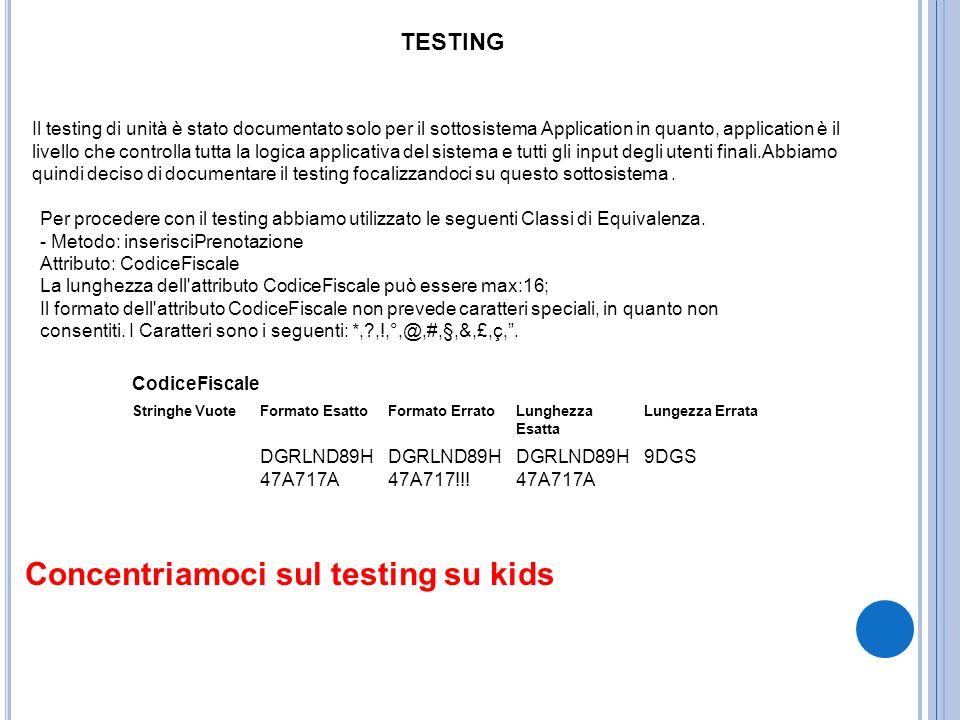 TESTING Il testing di unità è stato documentato solo per il sottosistema Application in quanto, application è il livello che controlla tutta la logica