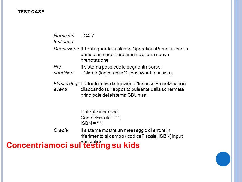 Nome del test case TC4.7 DescrizioneIl Test riguarda la classe OperationsPrenotazione in particolar modo l'inserimento di una nuova prenotazione Pre-