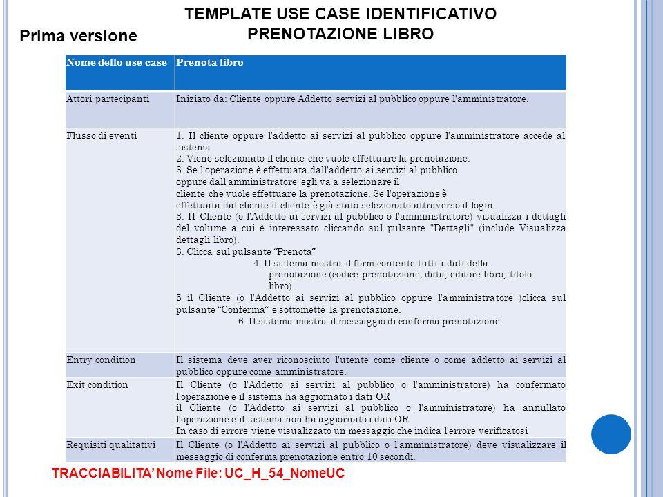 TEMPLATE USE CASE IDENTIFICATIVO PRENOTAZIONE LIBRO Prima versione Nome dello use casePrenota libro Attori partecipantiIniziato da: Cliente oppure Add