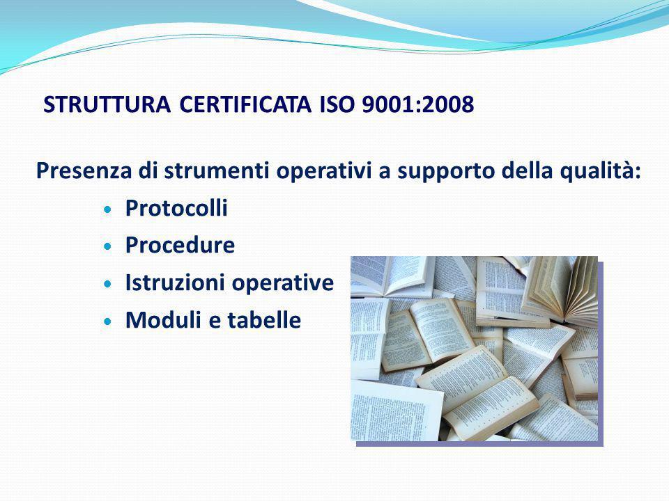 STRUTTURA CERTIFICATA ISO 9001:2008 Presenza di strumenti operativi a supporto della qualità: Protocolli Procedure Istruzioni operative Moduli e tabel
