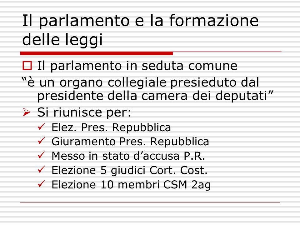 Il parlamento in seduta comune è un organo collegiale presieduto dal presidente della camera dei deputati Si riunisce per: Elez. Pres. Repubblica Giur