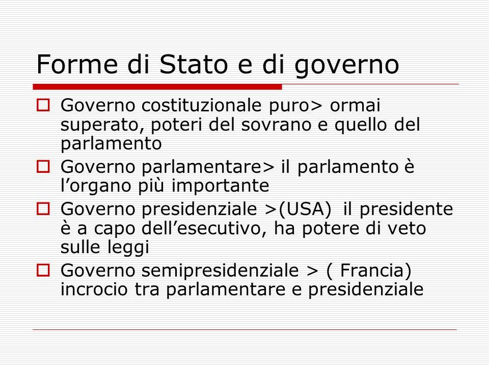 Governo costituzionale puro> ormai superato, poteri del sovrano e quello del parlamento Governo parlamentare> il parlamento è lorgano più importante G