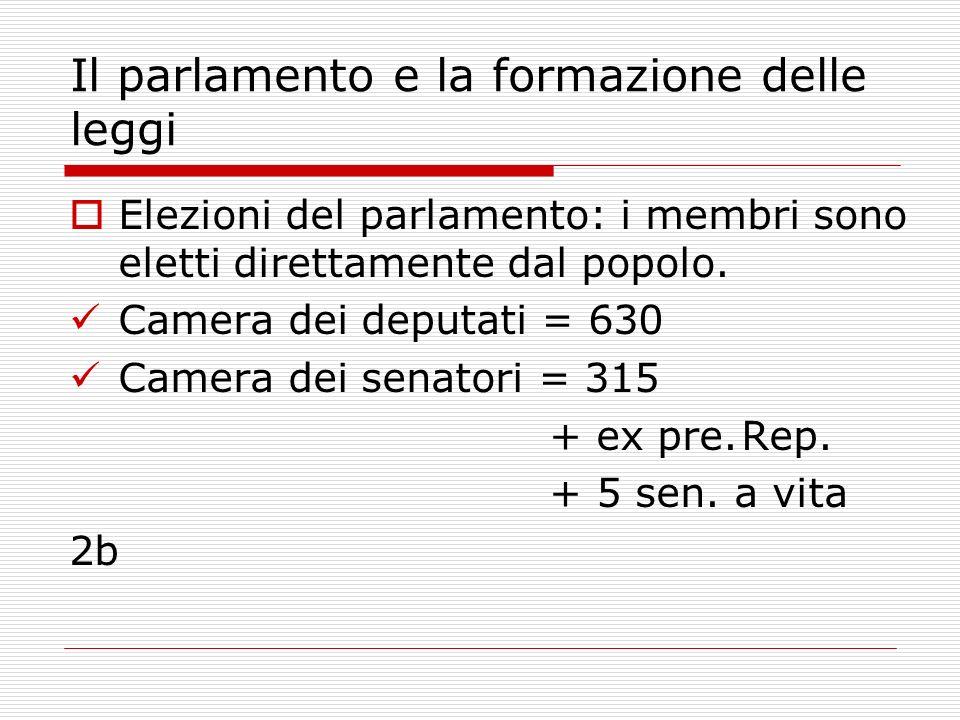 Elezioni del parlamento: i membri sono eletti direttamente dal popolo. Camera dei deputati = 630 Camera dei senatori = 315 + ex pre.Rep. + 5 sen. a vi